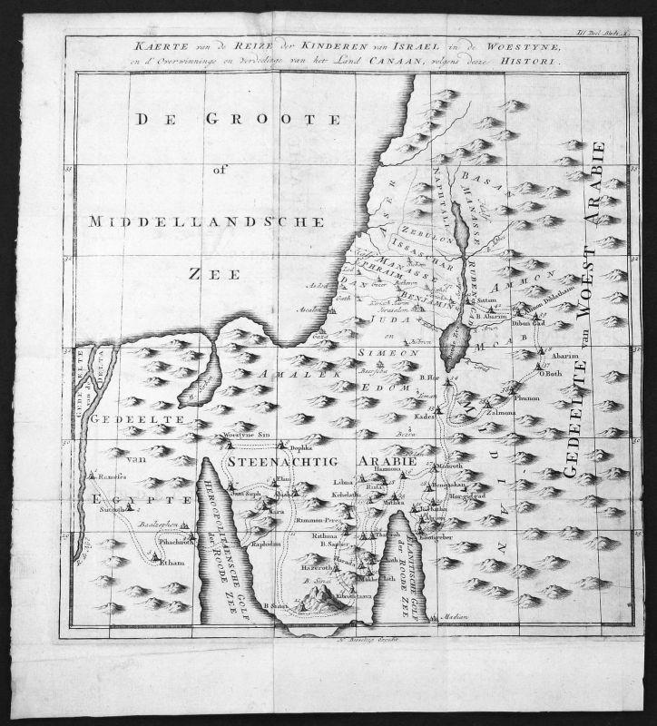 18. Jh.  Israel Saudi Arabia Arabien Egypt Ägypten Karte map Kupferstich antique