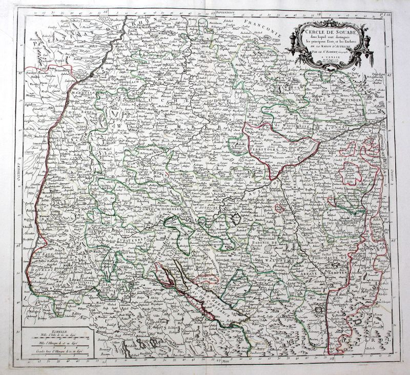 1778 Baden-Württemberg Bodensee Stuttgart Ulm Breisach Robert de Vaugondy