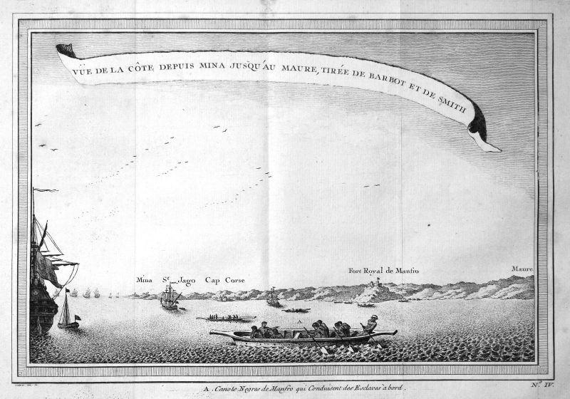 Ca. 1750 Ghana Cap Kap Afrika Africa Ansicht view Kupferstich antique print