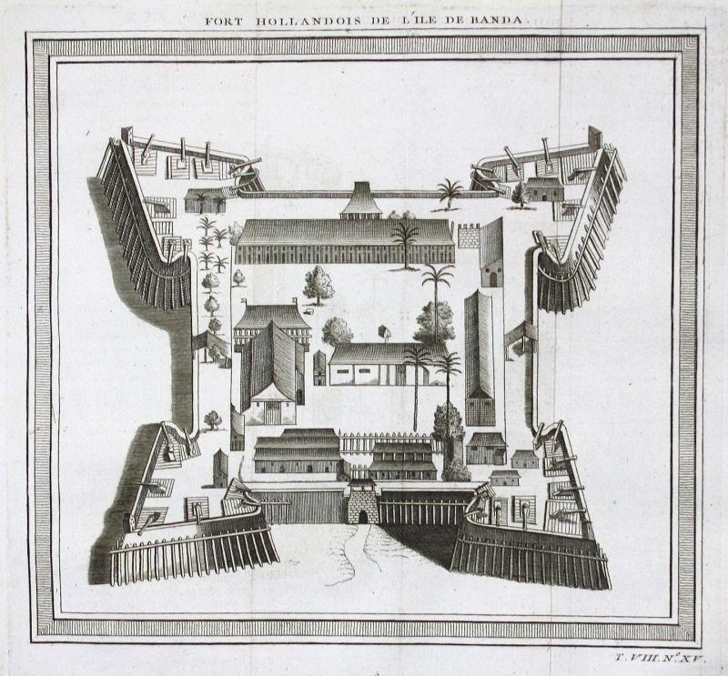 1750 Banda Insel Islands Indonesia fort Festung view Kupferstich antique print