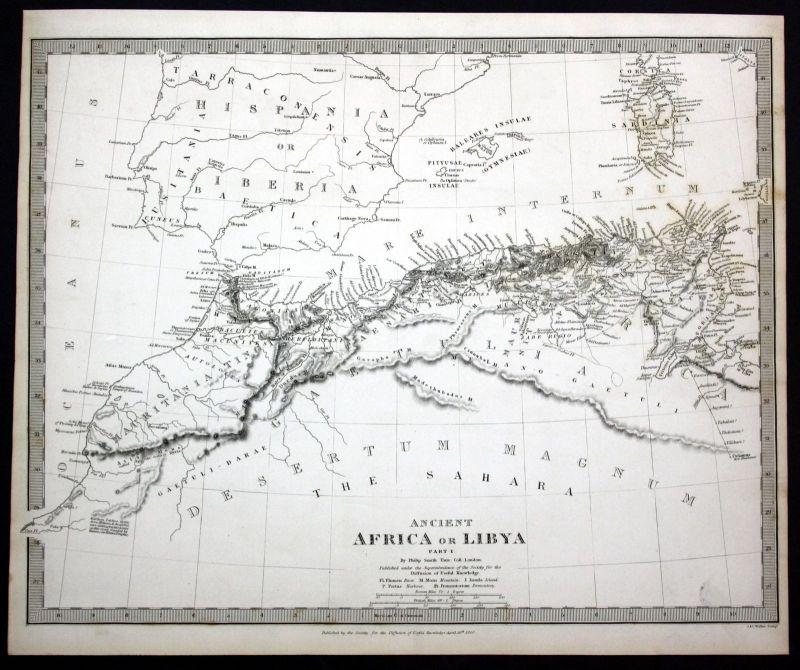 1840 Libya North Africa engraving map Karte SDUK