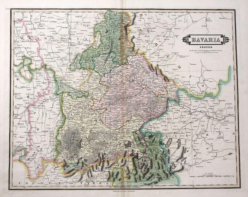 1820 Bayern München Straubing Passau Ingolstadt Nürnberg Karte map Kupferstich