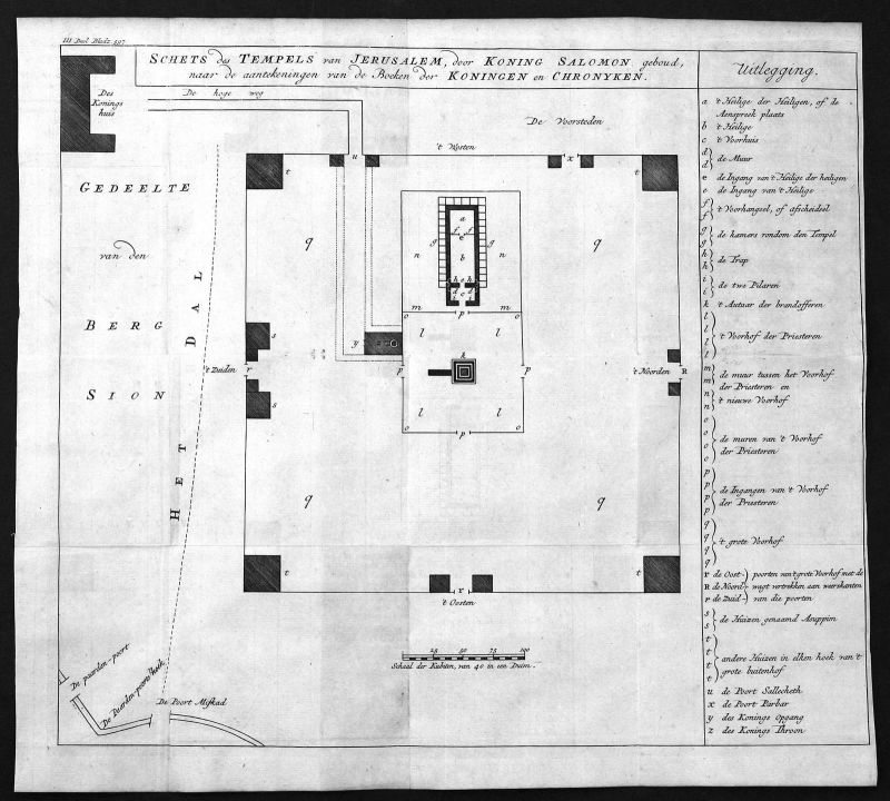 18. Jh.  Jerusalem Tempel temple Israel Plan Kupferstich antique print Holy Land