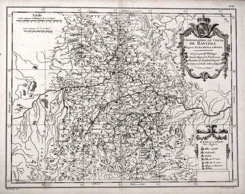 1787 München Ingolstadt Passau Regensburg Amberg Bayern Karte Kupferstich Vallet