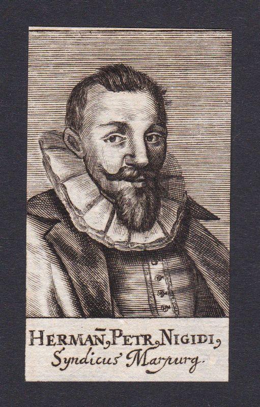 17. Jh. - Peter Hermann Nigidius / laywer Jurist Marburg Portrait Kupferstich