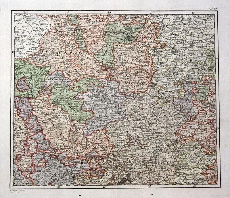 Ca. 1790 Kassel Dortmund Blankenburg Wesel Minden Karte map Kupferstich Jäck