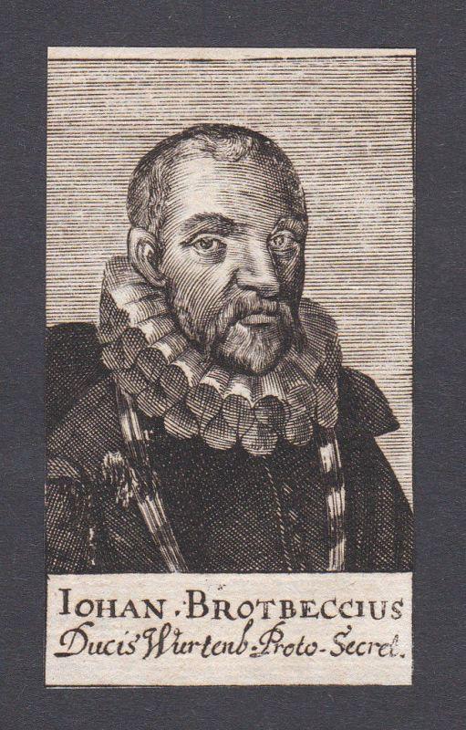 17. Jh. - Johann Conrad Brotbeck physician Arzt Württemberg Portrait Kupferstich