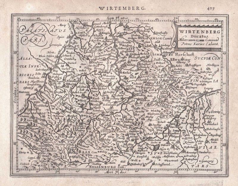 1628 Baden-Württemberg Baden-Baden Zollern Schwarzwald Germany map Mercator