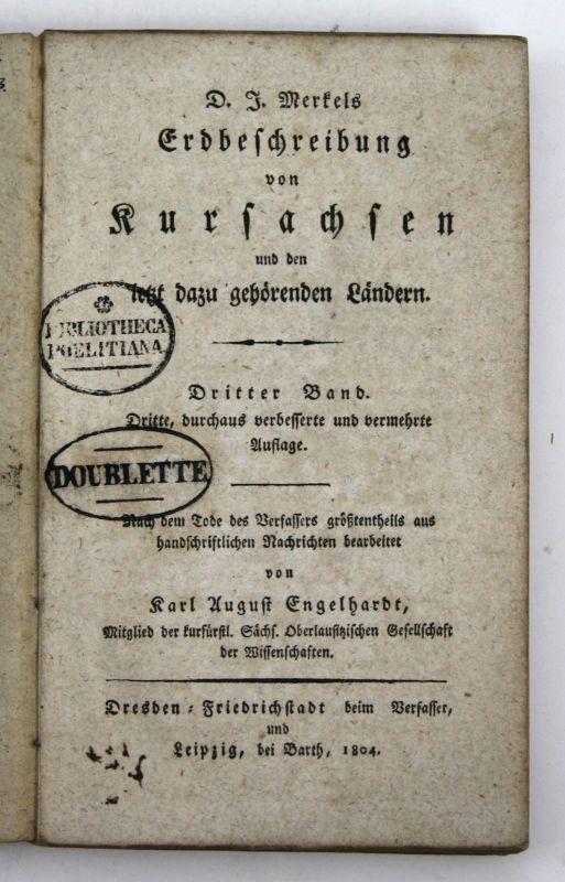 1804 Engelhardt Erdbeschreibung Kursachsen dazu gehörigen Ländern Sachsen 3 Band