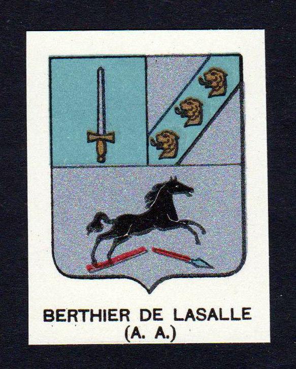 Ca.1880 Berthier de Lasalle Wappen Adel coat of arms heraldry Lithographie print