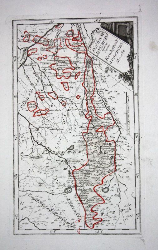 1790 Bistum Augsburg Kempten Memmingen Ottobeuren Kupferstich Karte Reilly