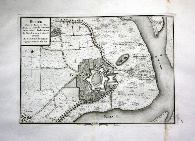 Ca. 1780 Büderich Wesel Rhein Kupferstich Karte map