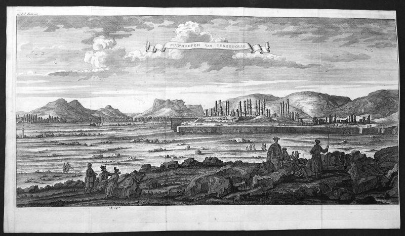18. Jh.  Persepolis Iran Ruinen ruins Ansicht view Kupferstich antique print
