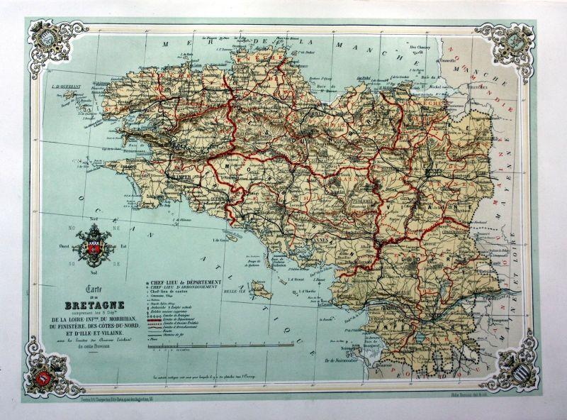 Nantes Karte.1870 Bretagne France Nantes Rennes Karte Carte Estampe Lithographie Lithograph