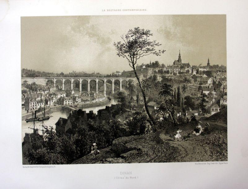 Ca. 1870 Dinan viaduc vue Rance Bretagne France estampe Lithographie lithograph