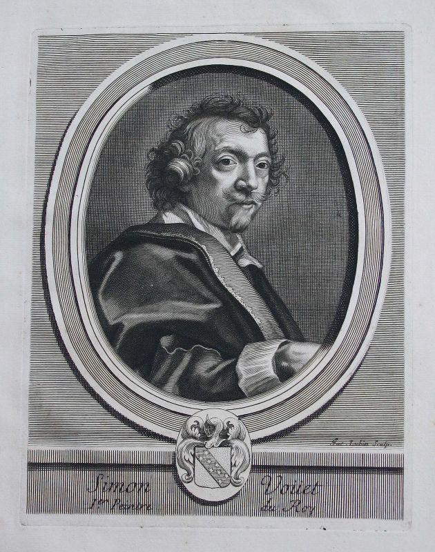 Simon Vouet peintre Maler painter Portrait Kupferstich engraving gravure ca.1700