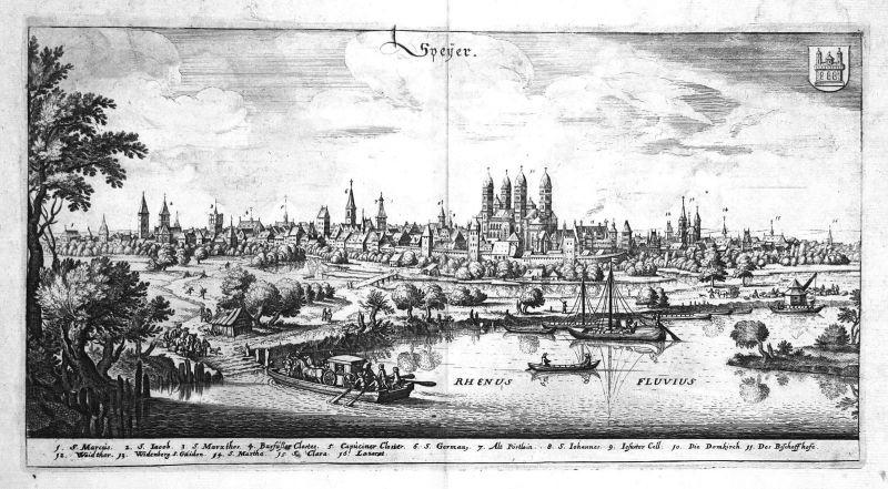 1698 Speyer Gesamtansicht Rhein Ansicht view Kupferstich antique print Merian
