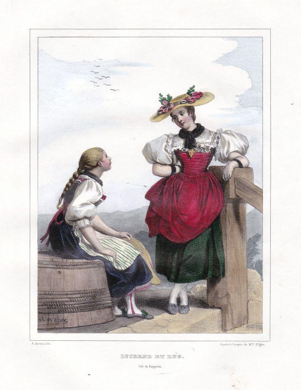 1840 Luzern Lucerne Schweiz Suisse Kostüme costums Tracht Lithographie Litho