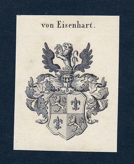 1820 Eisenhart Wappen Adel coat of arms Heraldik Kupferstich engraving
