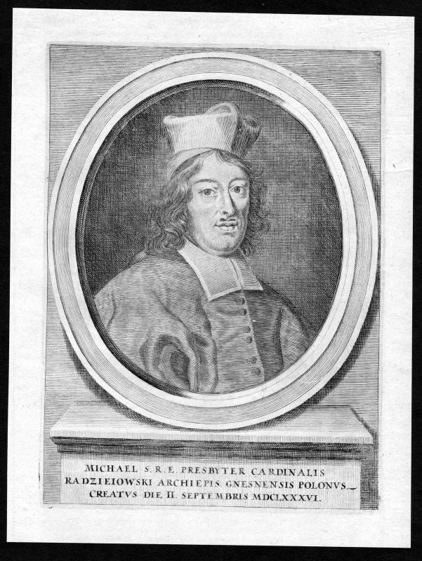 17. Jh. Michael Stephan Radziejowski Portrait Kupferstich antique print Polska