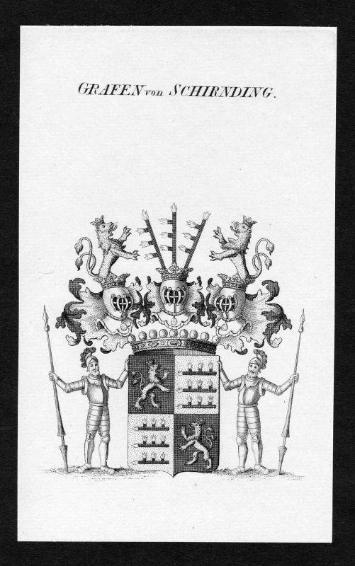 Ca. 1820 Schirnding Schirndinger Wappen Adel coat of arms Kupferstich antique
