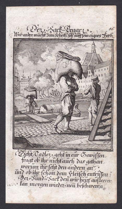 Sack Säcke Hafenarbeiter Hafen Träger carrier Kupferstich Beruf antique print