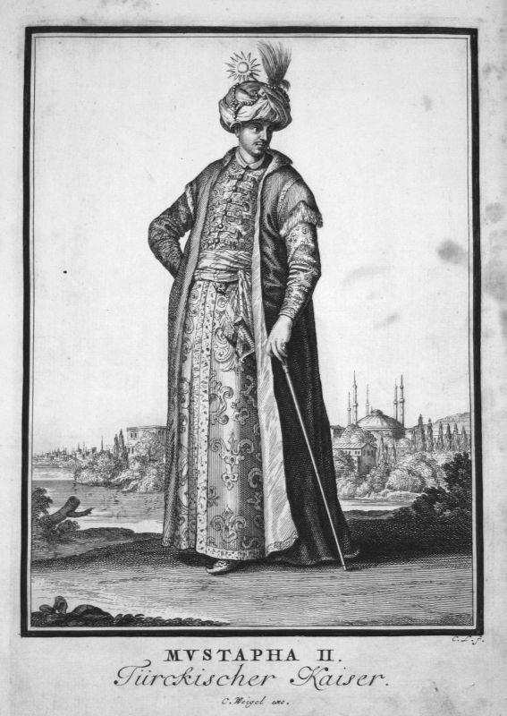 1703 Mustafa II Sultan Turkey Türkei Kupferstich antique print Sancta Clara