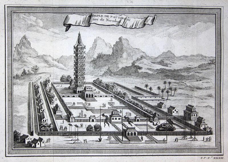 Ca. 1750 Paulin Chi Nanking temple Ansicht view China Kupferstich antique print