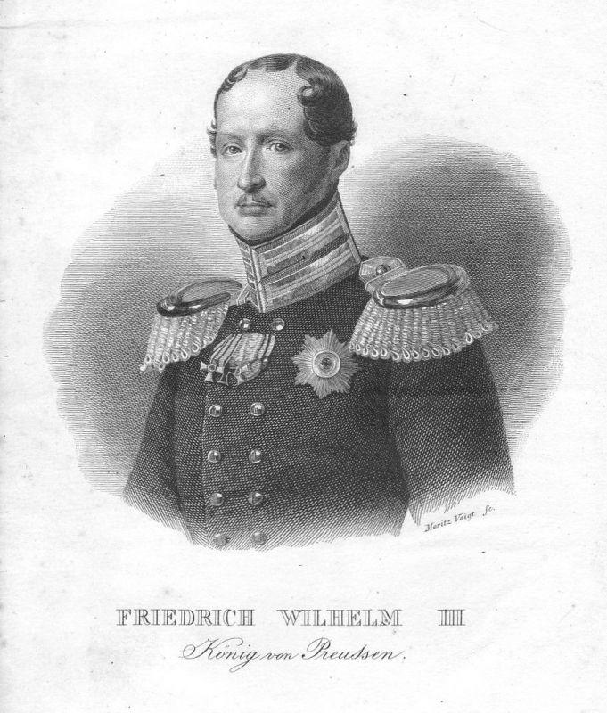 19. Jh. Friedrich Wilhelm III. Preußen König Portrait Stahlstich antique print