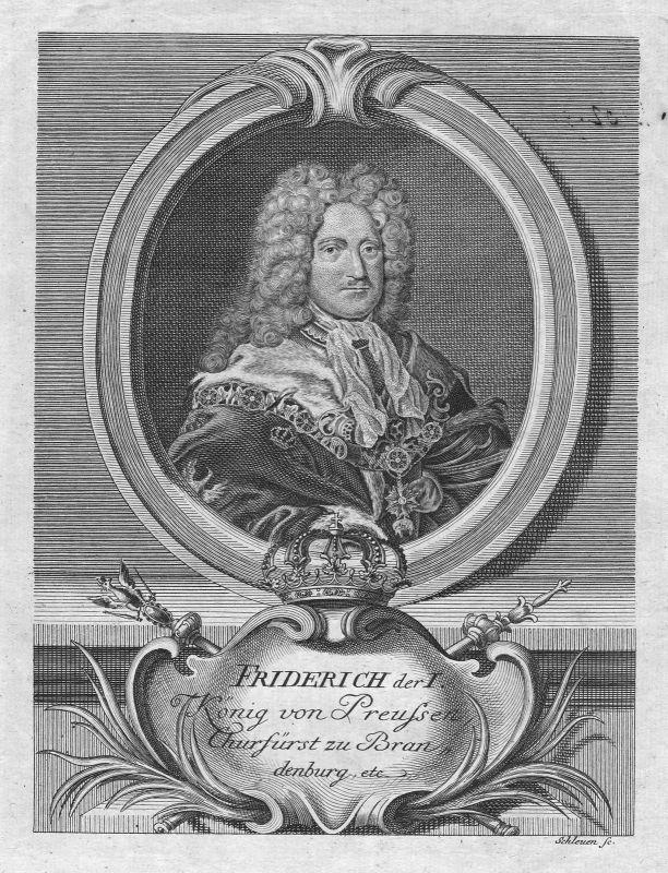 17. Jh. Friedrich I Preußen König Portrait Kupferstich antique print Schleuen