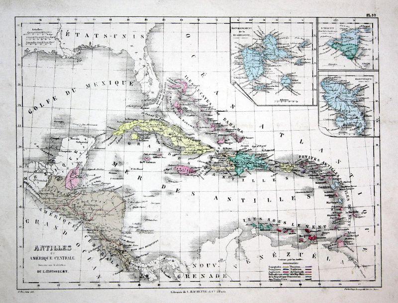 America Amerika Jamaica Jamaika Kuba Cuba Weltkarte Karte world map  Lithographie