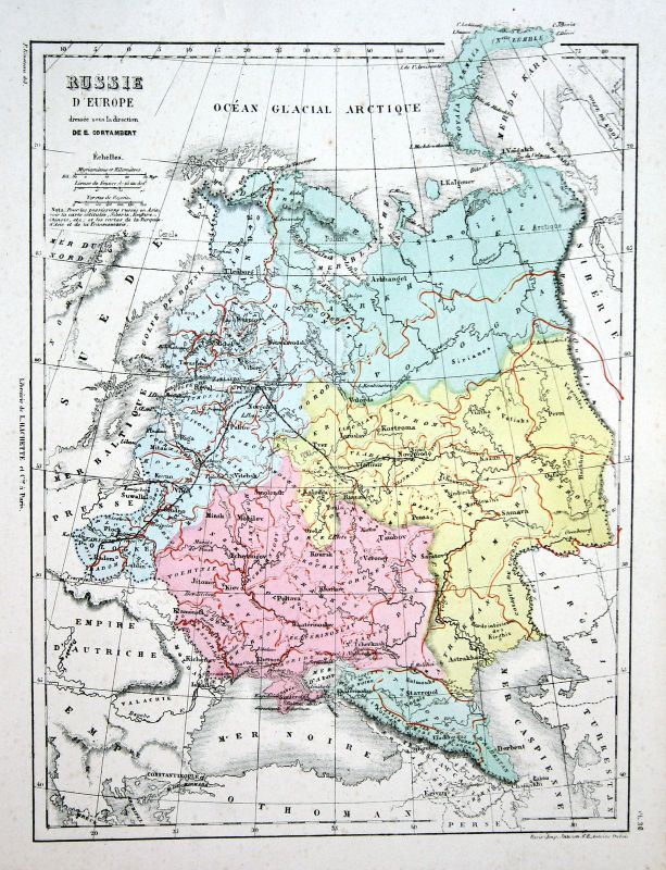 Russia Russland Europe Europa Weltkarte Karte world map Lithographie lithograph