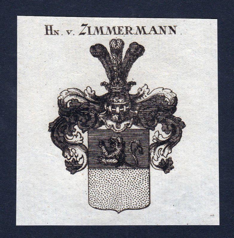 1820 Zimmermann Wappen Adel coat of arms Heraldik Kupferstich engraving