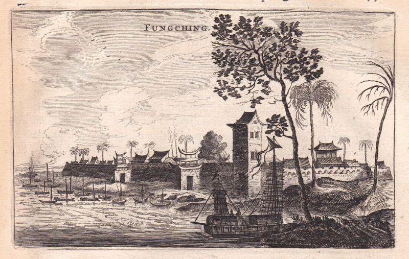 1668 Fungching China Asia Ansicht view Kupferstich antique print Nieuhof