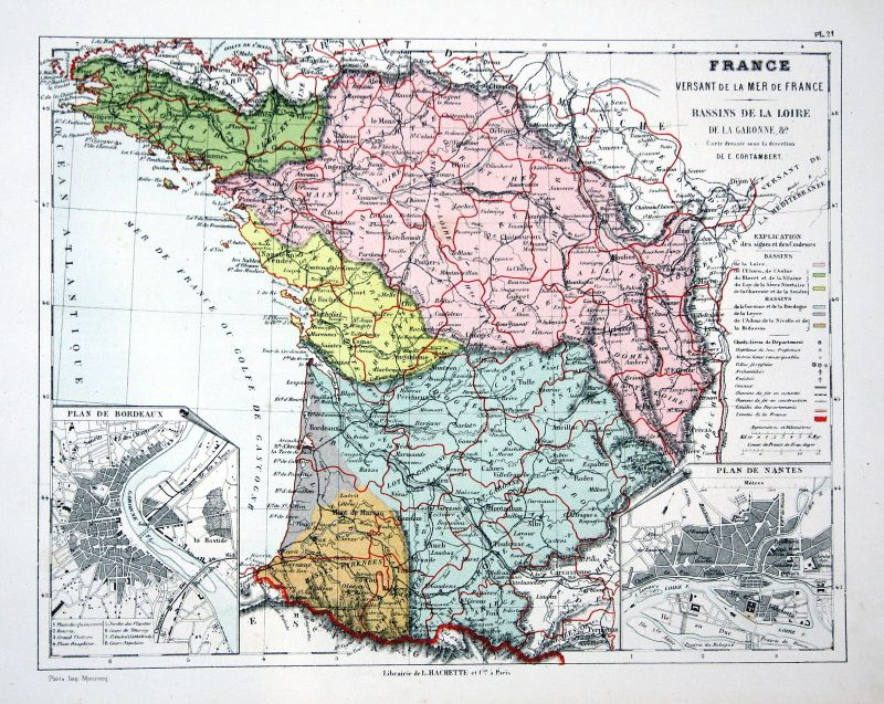 France Frankreich Toulouse Weltkarte Karte world map Lithographie lithograph