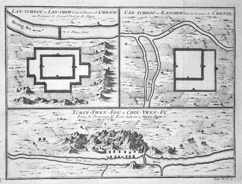 Ca. 1750 Shaanxi map Karte China Plan Kupferstich antique print Bellin