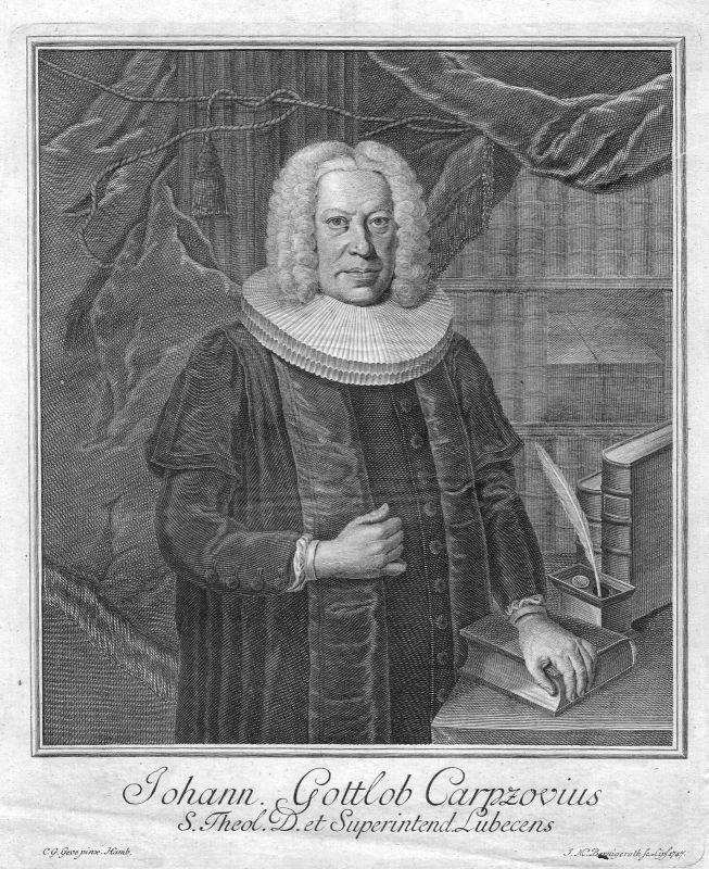 18. Jh Johann Gottlob Carpzov Leipzig Lübeck Portrait Kupferstich antique print
