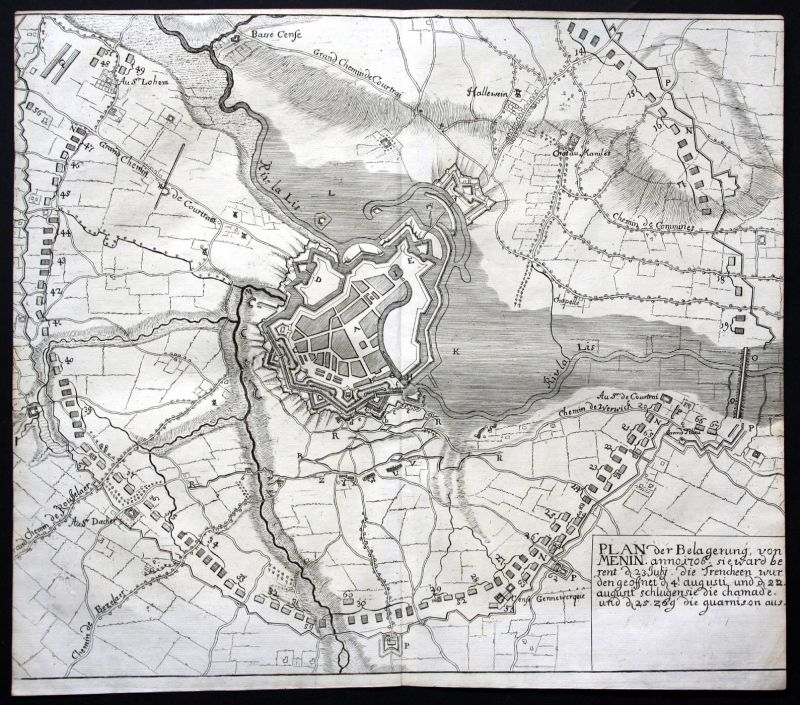 1718 Menin Belgique bataille gravure carte map Plan Kupferstich antique print