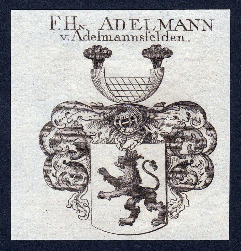 Adelmannsfelden Adelmann Schwaben Wappen Adel coat of arms Kupferstich engraving