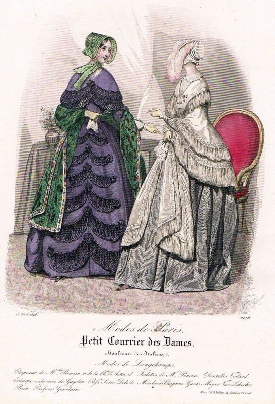 1846 Biedermeier Mode Kupferstich victorian fashion antique print etching  89735 0