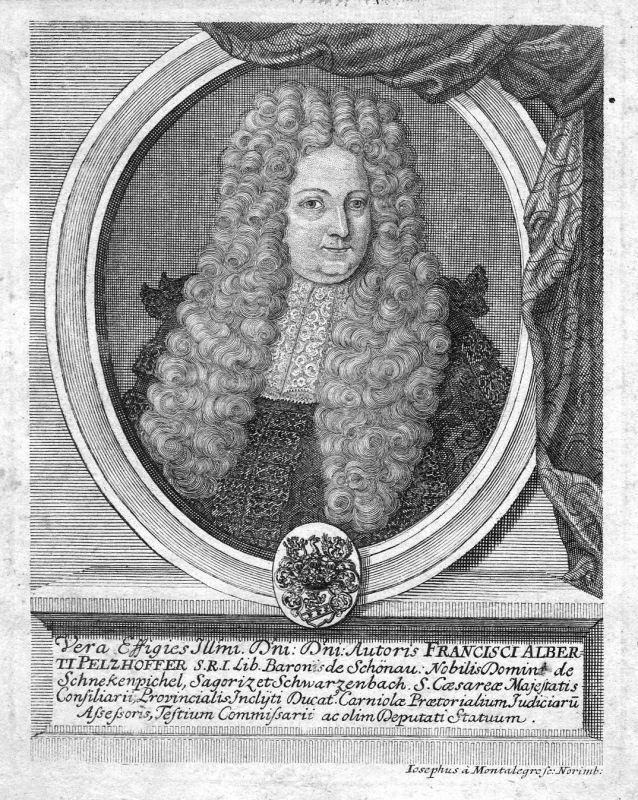 1710 Franz Albrecht Pelzhofer Schönau Portrait Kupferstich antique print