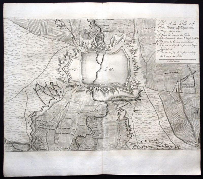 1718 Hagenau Alsace gravure Karte map Plan Kupferstich antique print Merian