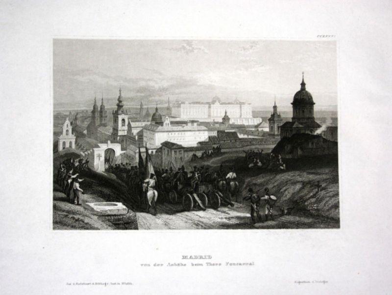 Ca. 1840 Madrid Ansicht view Spain Espana Spanien Stahlstich engraving