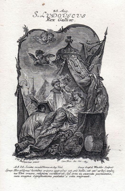 1750 Ludwig XIII König king Heiliger holy 25. August Kupferstich antique print
