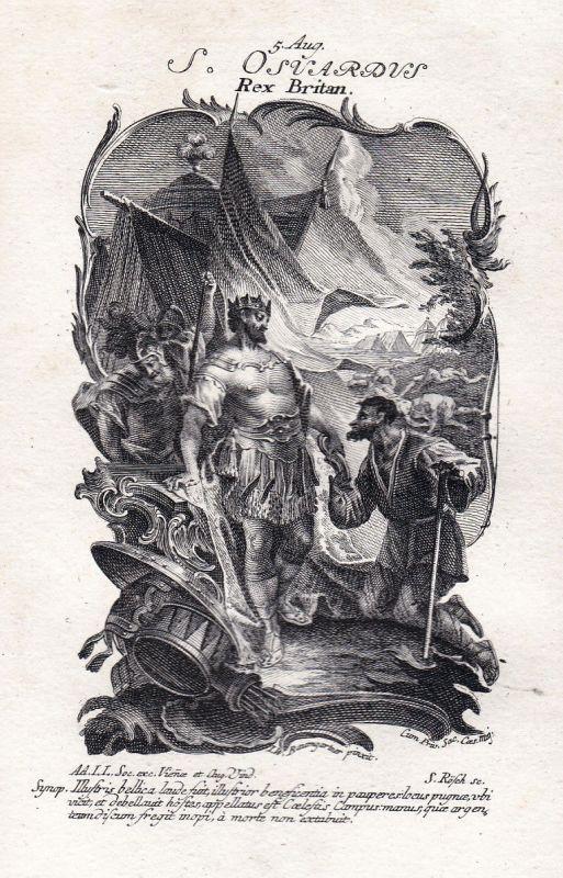 1750 Edward Heiliger holy König king 5. August Kupferstich antique print
