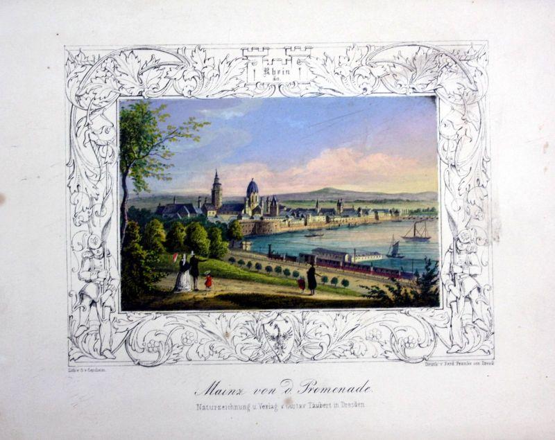 Mainz Gesamtansicht Lithographie handkoloriert Gersheim
