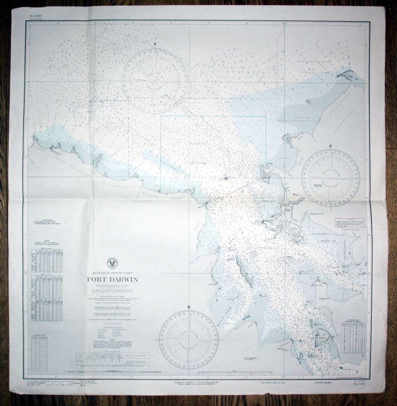 1942 Australia north coast Port Darwin sea chart map Karte Australien Nord