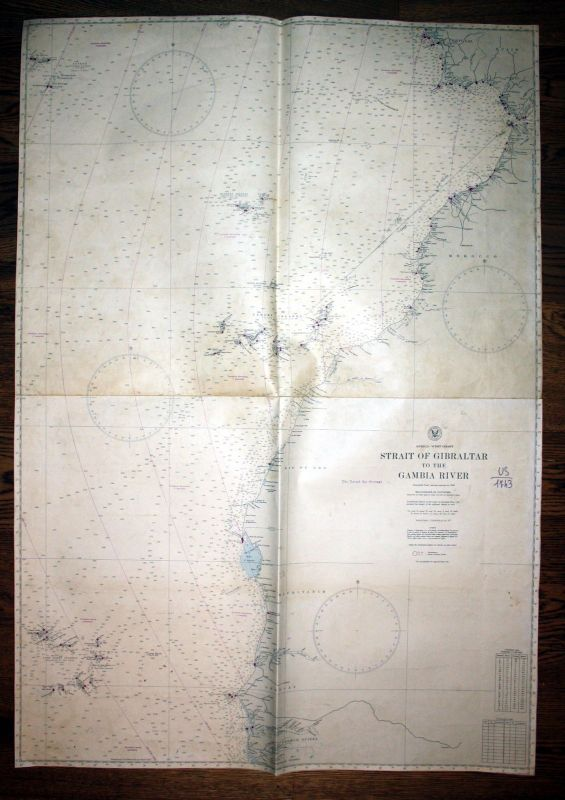 1941 Africa west coast Strait of Gibraltar to the Gambia River sea chart map