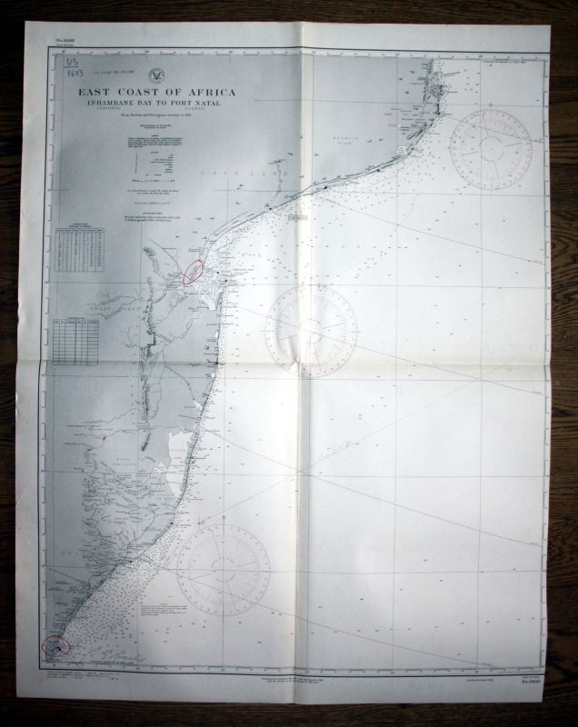 1938 East Coast Africa Inhambane Bay Port Natal Afrika map Karte Plan pla 130255