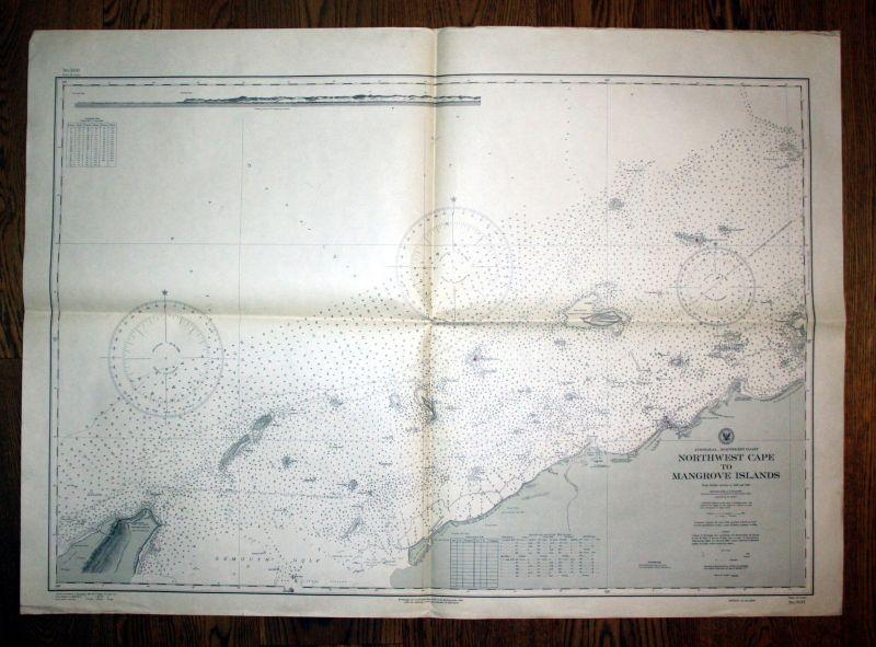 1939 Australia northwest coats Northwest cape of Mangrove Islands sea chart map